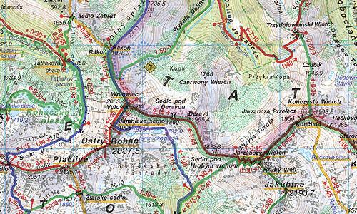112 Tatry Zachodnie Rohacze Zapadne Tatry Rohace Mapa