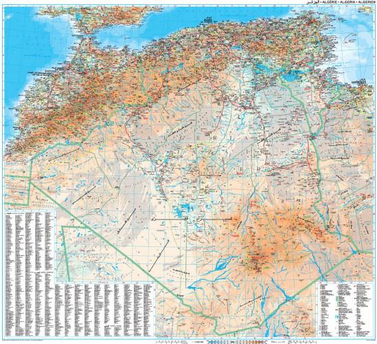 Algieria Maroko Tunezja Mapa Geograficzno Drogowa 1 2 500 000