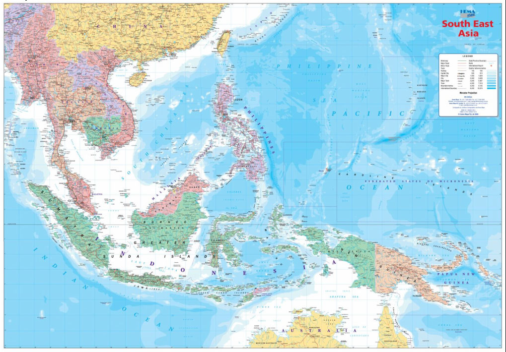 Azja Poludniowo Wschodnia Mapa Scienna 1 5 6 Mln Mapy