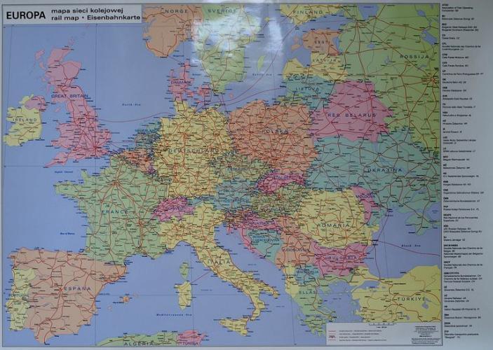 Europa Mapa Sieci Kolejowej Mapa Scienna Mapy Internetowa