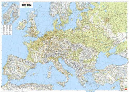 Europa Mapa Scienna Fizyczno Drogowa 1 3 500 000 Mapy