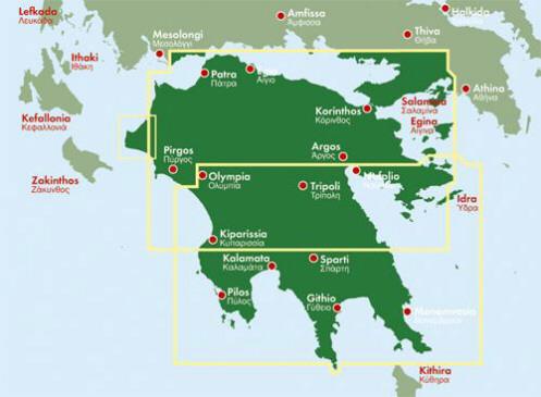 peloponez mapa Peloponez (Poloponnes). Mapa samochodowa 1:150 000. :: MAPY  peloponez mapa