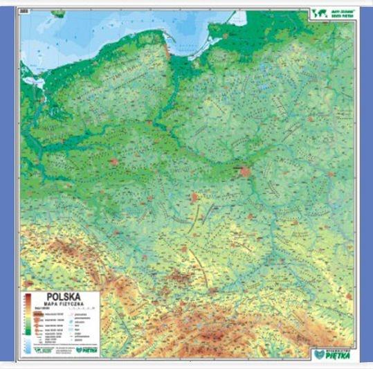 Polska Mapa Fizyczna 1 500 000 Mapa Scienna Mapy Internetowa